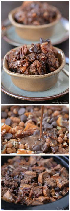 Slow Cooker Chocolate Turtle Bread Pudding is a warm, comforting dessert with chocolate, caramel and pecans. It's a crockpot recipe that everyone will love! Crock Pot Desserts, Slow Cooker Desserts, Crockpot Dishes, Slow Cooker Recipes, Delicious Desserts, Dessert Recipes, Cooking Recipes, Yummy Food, Best Chocolate Desserts