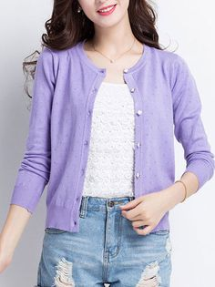Candy Color Single-Breasted O-Neck Cardigan Sweater Cute Tops on buytrends.com
