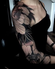 Awesome Sleeve Tattoos For Women Which You Will In Love With; Sleeve Tattoos For Women; Irezumi Tattoos, Tatuajes Irezumi, Tebori Tattoo, Forearm Sleeve Tattoos, Best Sleeve Tattoos, Sleeve Tattoos For Women, Black Sleeve Tattoo, Trendy Tattoos, Black Tattoos