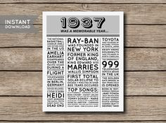 80th Birthday Poster, 1937 Poster, 1937 Facts, 1937 Trivia, Newspaper Style Poster, 80th Birthday Print -------------------- This listing is for a digital file that you can print yourself or have printed at a printing/photo printing store.  You will receive the poster in 4 sizes:  - 8 x 10 inches - 16 x 20 inches - A4 (210 x 297 mm) - A2 (420 x 594 mm)  All files are high resolution 300 DPI - JPG files.  If you need the files in PDF format, send me a message after you purchase & I will email…
