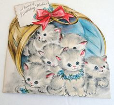 RESERVED for Rebecca - Vintage Birthday Card - Furry Kittens - Greeting Card…