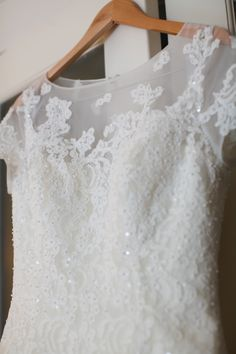 How gorgeous are the details of this gown?! We LOVE the beaded lace. Style CMK513 #davidsbridal #stylemepretty