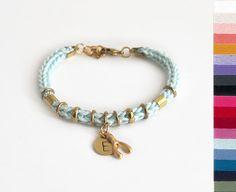 Initial bracelet with wishbone charm personalized bracelet, wish bracelet by LeiniJewelry