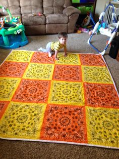 Bandana quilt made to be used as a beach blanket