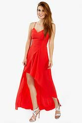 50f69ca1a1a8 ROUGE RED DRESS BY SUGARLIPS – BKLN Look red hot in this tomato red tank  dress with a high low hem. Features a draped detail in the front.