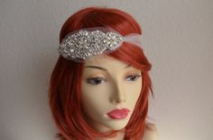 Art Deco wedding, headpiece, headband, tulle bandeau, Vintage Hair accessory. Pearls and rhinestones.
