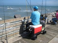 Fishing Cart – These Beach Carts Can Haul up to – Made in America and Comes with 5 Year Warranty! – Easily Carry Outdoor Fishing Poles Tackle Gear Boxes All in One Easy to Pull Wagon – If You Like to Spend Time on the Pier or Dock This Is for You! Beach Fishing Cart, Surf Fishing Rods, Beach Cart, Sport Fishing, Kayak Fishing, Going Fishing, Saltwater Fishing, Fishing Tips, Pull Wagon