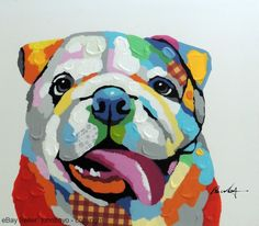 , , The Zedign House - Store: Painting: English Bulldog Happy Dog Mixed Media Pop Art Stretched Oil Painting. Oil Pastel Drawings, Oil Pastel Art, English Bulldog Art, English Bulldogs, French Bulldogs, Dog Face Drawing, Dog Pop Art, Dog Mixes, Arte Pop