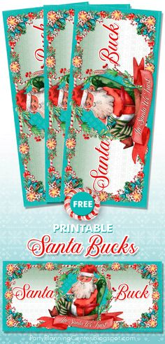 FREE Printable Santa Bucks Christmas Gift Certificates | In addition to the printable art, the page includes a list of meaningful non-toy gifts that the Santa Bucks can be exchanged for.   #GiftCertificates #SantaBucks #GiftCards #ChristmasPrintables #StockingStuffers #NonToyGifts #CarlaChadwick