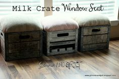 Glimmer And Grit: DIY Milk Crate Window Seat or Individual Stools