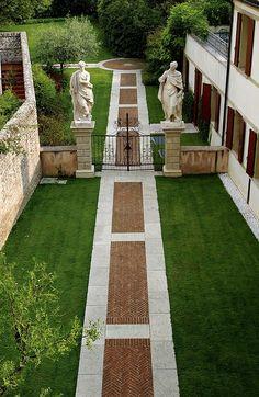 herringbone pattern brick walkway