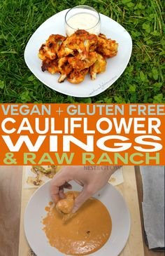 Gluten Free Cauliflower Wings with Raw Ranch Dressing. Vegan / plant based