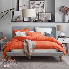 7069d592643 رنگ نارنجی در دکوراسیون داخلی Grey Orange Bedroom