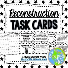 Reconstruction Task Cards and Recording Sheet for Student Responses Black and White  These cards are great for stations, centers, as an independent study tool, SCOOT and other cooperative learning activities!