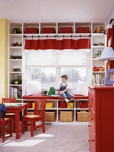 for under Evie's window.  Perhaps with end tables on either side, although the little curtain thing is super cute.