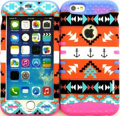 """Amazon.com: Orange, Black and White """"Aztec Tribal Arrows with Non-Slip Grip Texture"""" 3 Piece Layered ULTRA Tuff Custom Armored Hybrid Case for the NEW iPhone 6 Plus 5.5"""" Inch Smartphone by Apple {Made of Soft Silicone Gel and Hard Rubberized Plastic with External Built in Kickstand} """"All Ports Accessible"""": Cell Phones & Accessories"""