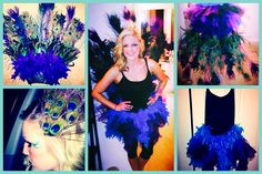 My DIY peacock costume for Halloween 2013! Fun & easy- took 2 hrs (after supplies were gathered). You need:    Glue gun & sticks, Cardboard (painted mine black to blend in better with my tutu/tulle one piece), Peacock faux feathers (found mine in the floral sections at Jo Ann & Michaels), Boa faux feathers, Tulle, Black elastic, Scissors/wire cutters (some of my floral feathers were wire). I bought my tutu/tulle one piece at a Halloween store to start off my costume and designed the rest to…