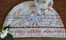 Cute vintage hand embroidered linen tea cosy cover crinoline lady cottage garden