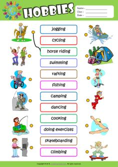 Hobbies ESL Matching Exercise Worksheet For Kids - learning GO English Games For Kids, Learning Spanish For Kids, English Lessons For Kids, English Worksheets For Kids, Kids English, Learn English, Kids Learning, Learning French, Learn Spanish