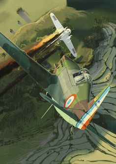 Art by Christophe Gibelin Ww2 Aircraft, Fighter Aircraft, Military Aircraft, Aviation Theme, Aviation Art, Military Paint, Military Drawings, Air Fighter, War Thunder