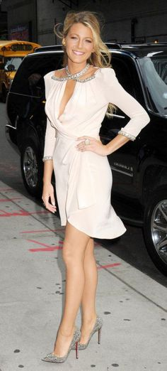 Blake Lively embellished wrap dress with sparkly Louboutin Pigalle pumps