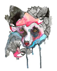 """Fox and birds // SALE 3 for 2 // Silver Fox abstract watercolor art print, size 8""""x10"""" (No. 52)"""