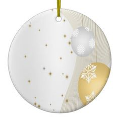 Silver and Gold Double-Sided Ceramic Round Christmas Ornament
