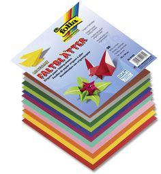 Faltblätter aus Origami-Papier in 12 Farben sortiert mit 96 Blatt insgesamt. Mehr unter www.folia.de