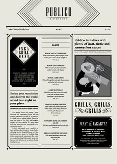 Publico Bistro & Bar Menus with roaring twenties influenced type and illustrations