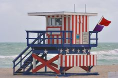 red, white & blue lifeguard station, miami beach