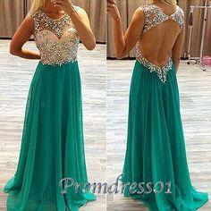 Beaded green chiffon junior prom dress, homecoming dress 2016, Custom made open back long prom dress for teens http://www.promdress01.com/#!product/prd1/4321480955/elegant-green-bead-long-chiffon-a-line-prom-dress