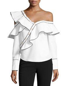 6ec41c4a Self-Portrait | White Poplin Frill One-shoulder Shirt | Lyst