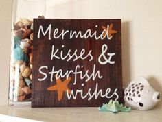 Beach Sign, Mermaid Kisses & Starfish Wishes Stained and Hand Painted