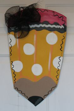 Pencil Door Hanger Wood Wreath Back to School Teacher Door Decor on Etsy, $35.00