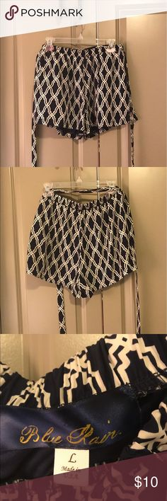 Blue and white patterned shorts Cute summer navy and white shorts with elastic waist and adjustable tie. Shorts