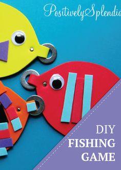 Magnetic Fishing Game Kids Craft Let's go fishing! DIY magnetic game for kids. Toddler Activities, Activities For Kids, Diy For Kids, Crafts For Kids, Joann Crafts, Sewing Projects For Kids, Diy Games, Diy Toys, Fishing Poles