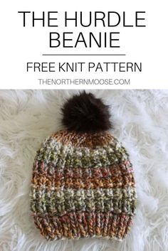 Free hat knitting pattern. Quick easy to knit hat. Made with bulky yarn, knit in the round.