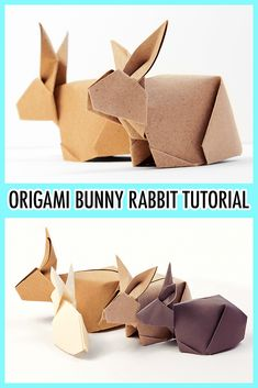 Origami Bunny Rabbit Tutorial - Paper Kawaii - Learn how to fold a cute three dimensional bunny for Easter! This pretty origami bunny rabbit stands up and would make a great table decoration and of course a gift! via Paper Kawaii - Origami Design, Origami Diy, Origami Simple, Easy Origami For Kids, Cute Origami, Origami Ball, Paper Crafts Origami, Origami Tutorial, Paper Crafting