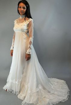 70s vintage wedding gown / sheer lace $146.00