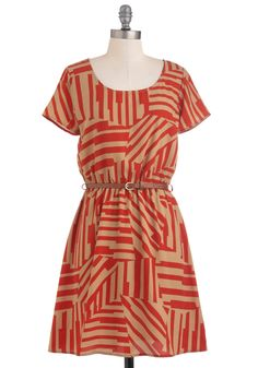 Light and Shadow Dress - Red, Tan / Cream, Print, Casual, A-line, Short Sleeves, Fall, Belted, Mid-length