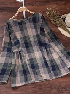 Casual Women Plaid Long Sleeve O-Neck Cotton Blouse- .- Casual Women Plaid Long Sleeve O-Neck Cotton Blouse- Casual Women Plaid Long Sleeve O-Neck Cotton Blouse- - Pakistani Dresses Casual, Pakistani Dress Design, Kurta Designs, Blouse Designs, Frock Design, Mode Hijab, Cotton Blouses, Casual Skirts, Blouse Styles