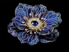 busatti milano - Diamond sapphire brooch