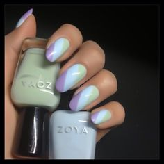 Pastel Nail Art featuring Zoya Nail Polish in Julie, Neely & Blu - Photo by karengnails via Instagram