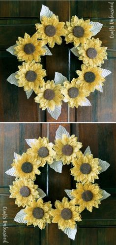 Burlap Sunflower Wreath DIY  Handmade wreaths are definitely among our favorite types of decorations. They welcome our guests in style and bring so much charm to the house. This version by Crafts Unleashed is perfect for summer.  #sunflower #sunflowercraft #sunflowerdecor #summerdiy #crafttutorials Sunflower Crafts, Sunflower Wreaths, Sunflower Fields, Diy Wreath, Burlap Wreath, Home Crafts, Diy Crafts, Summer Diy, Craft Tutorials