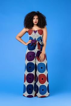 African Print Yejide Jumpsuit by michelledonna African Attire, African Dress, Jumper Suit, African Print Jumpsuit, Afro Style, African Fashion, Ankara Fashion, Ankara Styles, Curvy Fashion