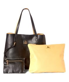 Loving this Black & Beige Tote & Cosmetic Bag on #zulily! #zulilyfinds