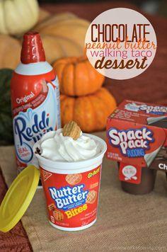 Chocolate Peanut Butter Walking Taco Dessert AD #SnackAndGo