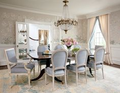 such a feminine #chinoiserie inspired dining room love the delicate accents, colors and textures.