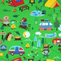Kinderstoff Jersey - Camping Grün