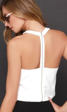 Love the zip up back detail // Race Ya Ivory Crop Top